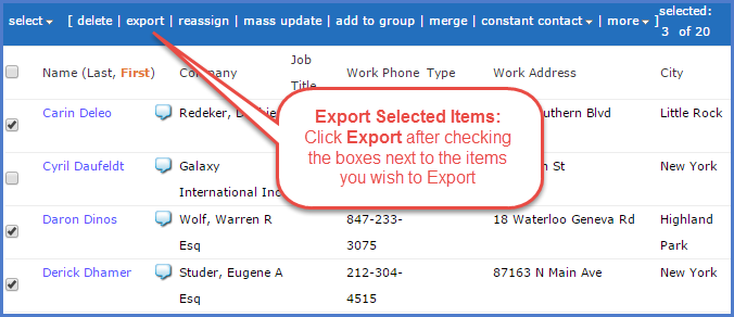 Export selected items
